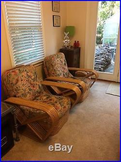 Mid-century Rattan Living Room Set Paul Frankl Pretzel Style 15 Pieces
