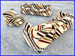 Milo Baughman Style Velour Chevron Modular Sectional Sofa
