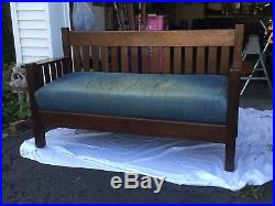 Mission-Oak-Arts-and-Crafts-Antique-Craftsman-Bench-Settee-or-Sofa-Brown oak