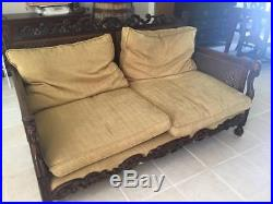 NORTHERN SPAIN UPHOLSTERED CANE BENCH/ SOFA, antique