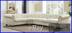 New Chesterfield 4 part Sectional Sofa Top Grain Creamy Ivory Leather RH Style