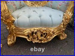 New Rococo Living Room Set in Green. 3 Pieces