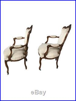 Nicely Priced French Louis XV Salon Set, Neutral Fabric, Walnut