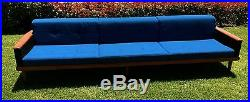 No Reserve Extra large Mid Century Modern Sofa, Couch. Walnut recent upholstery