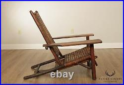 Old Hickory, Rare Antique Chaise Lounge with Retractable Ottoman