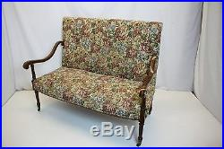 Outstanding French Louis XV Inlaid Loveseat Sofa withHigh Back on Wheels, 19th