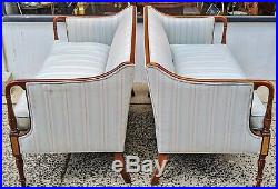 PAIR Fine ANTIQUE 20th C Carved Inlaid ENGLISH Upholstered LOVESEAT SOFA Couch