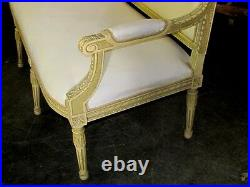 Polychrome French Louis XVI Settee Canapé Sofa Barbola Roses & Ribbons