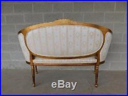 Quality Louis XVI Style Gilt Frame Settee Sofa 57W