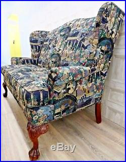 Queen Ann Wingback Georgian Irish Claw & Ball Titanic Embroidered Tapestry Sofa