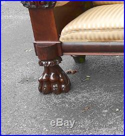 RARE American Philadelphia Federal mahogany sofa 1830 shell carved arms paw feet