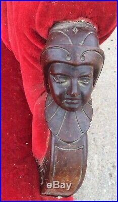 RARE Victorian Carved Greco Roman Faces Red Loveseat Settee Shipping Ok 5 Feet