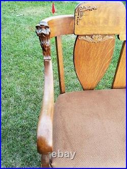 Rare 1900 Antique Parlor Furniture Carved Lion Chair Sofa Set Gargoyle Tiger Oak