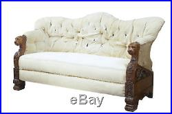 Rare 19th Century Carved Walnut And Mahogany Buttonback Sofa