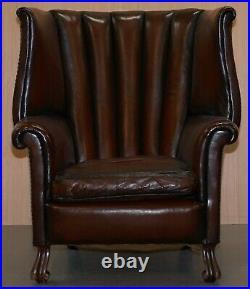 Rare Circa 1860 Huge Victorian Brown Leather Barrel Back Suite Sofa Armchair