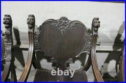 Rare Complete Antique R J Horner Lion Griffin Heads Mahogany Carved Parlor Set