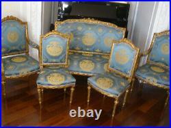 Rare French Antique 19 Century Louis XVI Gilt 5 Pc Sofa, Arm Chairs, Chairs Set