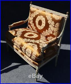 Rare Pair Signed Paint Decorated Maison Jansen Louis XVI Settee Canape Sofa