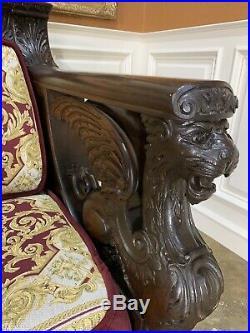 Rare R J Horner Figural Griffin Mahogany Sofa 1890s