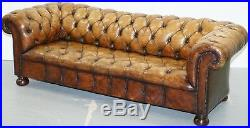 Rare Vintage Hand Dyed Whiskey Heritage Brown Leather Chesterfield Club Sofa