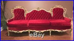 Red Antique Italian Rococo Baroque Victorian Button Tufted Couch / Sofa Regency