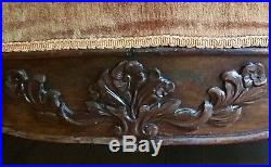 Red loveseat couch- Victorian redwood 19th Century- Hand carved rosewood