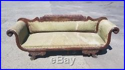Reduced! Rare, 1815 Hand Carved Federal-Style Empire Era Walnut Couch NOW $425