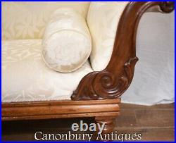 Regency Chaise Longue Sofa Walnut Lounge Day Bed