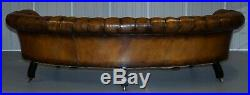 Restored Howard & Sons Chesterfield Victorian Brown Leather Crescent Framed Sofa