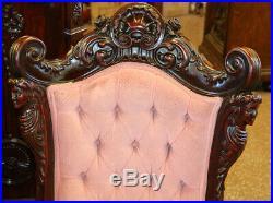 Restored Karpen Carved Figural Mahogany Rococo Parlor Set 4 Pieces C1880 MINT
