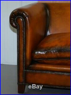 Restored Rrp £16,000 Ralph Lauren Brompton Brown Leather Sofa Feather Cushion