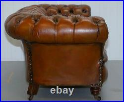 Restored Victorian 1890 Cornelius V Smith Stamp Chesterfield Leather Sofa Brown