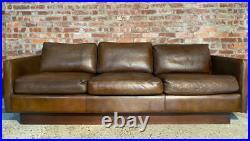 Retro Danish 1970 Long Three Seater Hand Dyed Tan coloured Buffalo leather Sofa