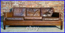 Retro Danish Heavily Patinated Three Seater Hand Dyed Tan Leather Sofa