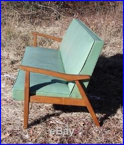 Retro Mid Century Modern Turquoise Sofa Couch Loveseat Settee Vintage Lounge MCM