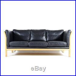Retro Vintage Danish Beech & Black Leather 3 Seat Seater Sofa 60s 70s Mogensen