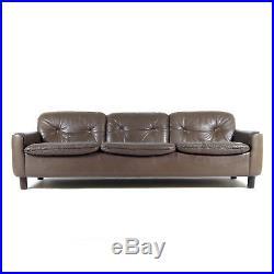 Retro Vintage Danish Modern Thams Leather 3 Seat Seater Sofa 60s 70s Mid Century