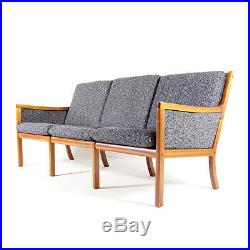 Retro Vintage Danish Ole Wanscher Mahogany Teak 3 Seat Seater Sofa Modern 1960s