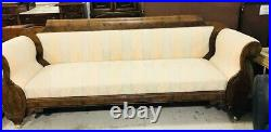 Revival Style Walnut Finish Hardwood Trim 92 in L Upholstered Couch