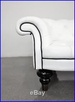 Romeo Sozzi Promemoria Chesterfield Sofa White Black Italian Leather Vintage