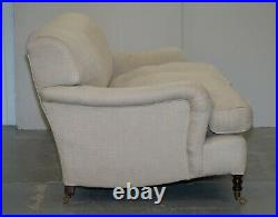Rrp £11000 George Smith Signature Scroll Howard Arm Two Three Seater Sofa Grey