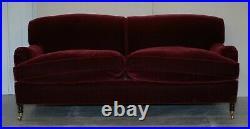 Rrp £13,000 George Smith Purple Velvet Signature Scroll Howard Arm Sofa Settee