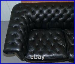 Rrp £17,000 David Linley Pimlico Chesterfield Tufted Black Nero Leather Sofa