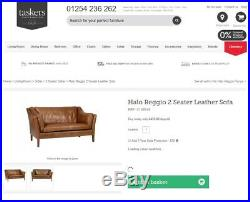 Rrp £1889 Halo Reggio Tan Brown Leather Two Seater Sofa 150cm Wide Perfect Fit