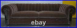 Rrp £18,000 Fendi Case Minosse Grey Silk Velvet 3 To 4 Seat Sofa Chrome Panels