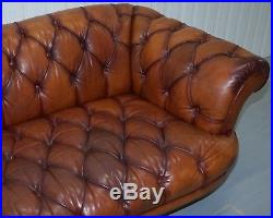 Rrp £2399 Tetrad Oskar Chesterfield Vintage Brown Leather Sofa Part Of A Suite