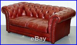 Rrp £2699 Tetrad England Reddish Brown Leather Chesterfield Sofa Part Of Suite