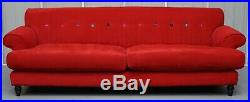 Rrp £3000 Pair Of Red Velvety Finish 3 To 4 Seater Sofas Chesterfield Buttoning