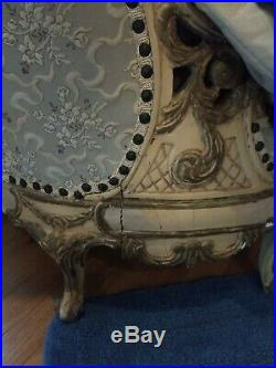 SALE! 1900's Antique FRENCH CARVED Couch, SetteeTUFTEDLOUIS XVORNATE BARBOLA