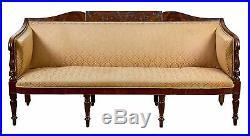 SWC-Grandly Carved Mahogany Sheraton Sofa, Salem, c. 1800 1810